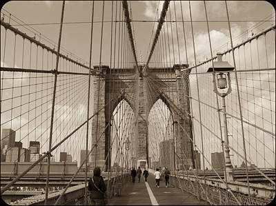 Photograph - Brooklyn Bridge Sepia by Frank Winters