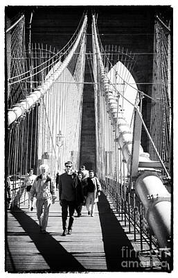 Photograph - Brooklyn Bridge Shadows 1990s by John Rizzuto