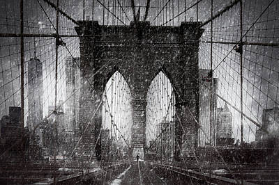 Brooklyn Bridge Snow Day Art Print