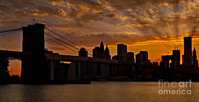 Brooklyn Bridge Sunset Art Print by Susan Candelario