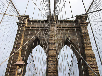 Brooklyn Bridge Tower Print by Frank Winters