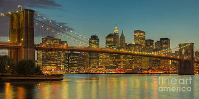 Photograph - Brooklyn Bridge Twilight Panoramic by Clarence Holmes