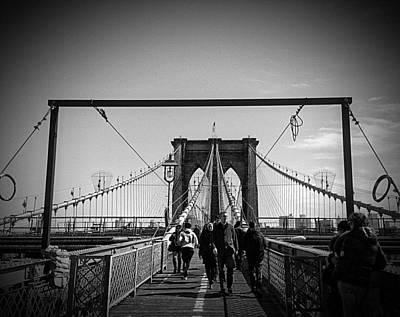 New York City Skyline Photograph - Brooklyn Bridge Wide by Freya Doney
