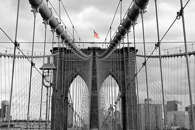 Photograph - Brooklyn Bridge With American Flag by Ramona Johnston