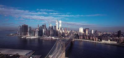 Brooklyn Bridge With Manhattan Skyline Art Print by Kim Lessel