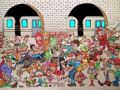 Brooklyn Bridge Drawing - Brooklyn Down Under by Paul Calabrese