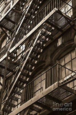 City Scenes Royalty-Free and Rights-Managed Images - Brooklyn Fire Escapes by Diane Diederich