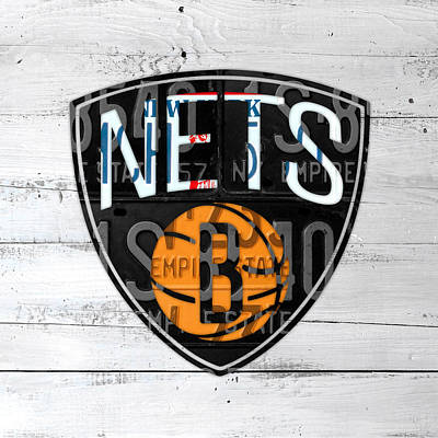 Net Mixed Media - Brooklyn Nets Basketball Team Retro Logo Vintage Recycled New York License Plate Art by Design Turnpike
