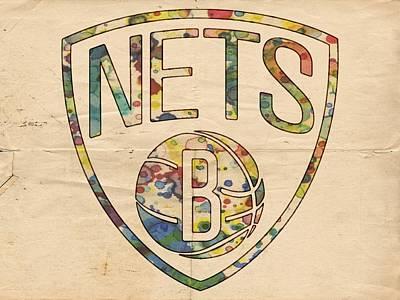 Painting - Brooklyn Nets Logo Art by Florian Rodarte