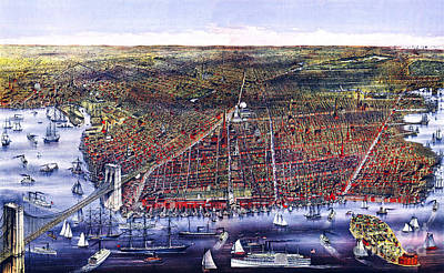 Historical Painting - Brooklyn Ny Birds Eye View - 1879 by Celestial Images