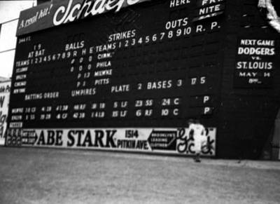 Historical Baseball Photograph - Brooklyn Scoreboard by Retro Images Archive