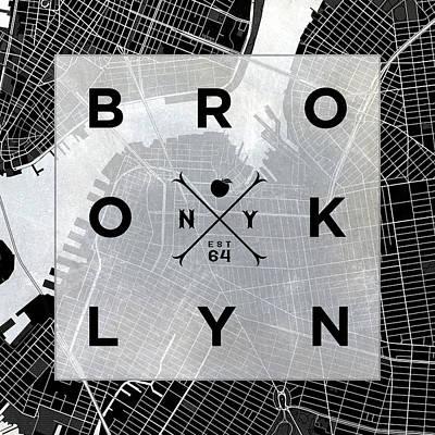 Bw Digital Art - Brooklyn Square Bw by South Social Studio