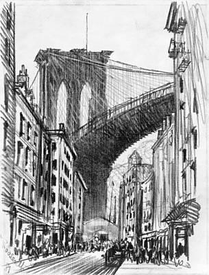 Brooklyn Bridge Drawing - Brooklyn Tenements, C1909 by Granger