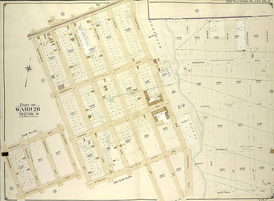 Old Mills Drawing - Brooklyn, Vol. 4, Double Page Plate No. 21 Part Of Ward 26 by Litz Collection