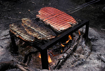 Grilled Fish Photograph - Brooks River Salmon Grilling At Campsite by Ron Sanford