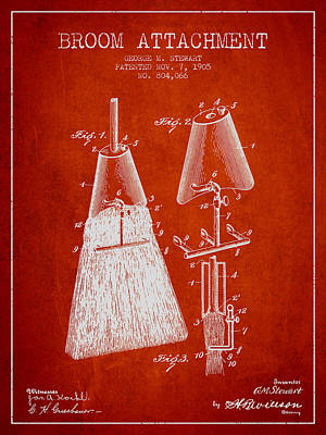 Broom Wall Art - Digital Art - Broom Attachment Patent From 1905 - Red by Aged Pixel
