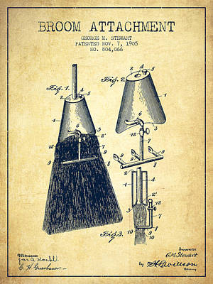 Broom Attachment Patent From 1905 - Vintage Art Print by Aged Pixel
