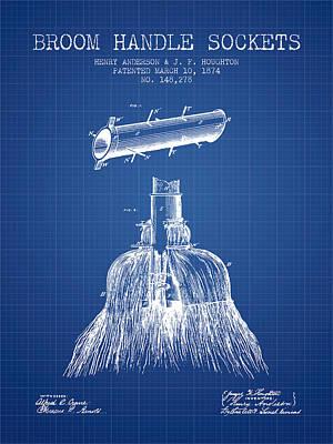Broom Wall Art - Digital Art - Broom Handle Sockets Patent From 1874 - Blueprint by Aged Pixel