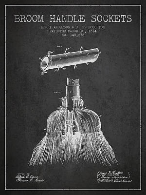 Broom Handle Sockets Patent From 1874 - Charcoal Art Print