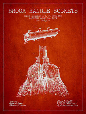 Broom Handle Sockets Patent From 1874 - Red Art Print by Aged Pixel