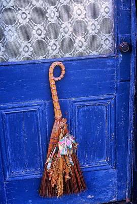 Art Print featuring the photograph Broom On Blue Door by Rodney Lee Williams