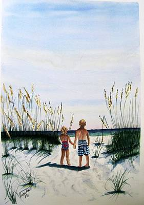 Painting - Brother Sister On Beach Sold by Richard Benson