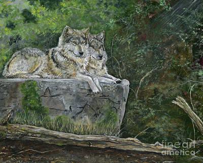 Wolves On A Rock Art Print