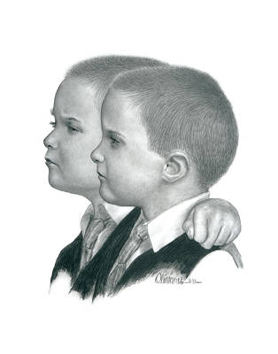 Drawing - Brothers by Joe Olivares