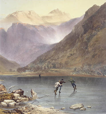 Brothers Water, Detail Of Ice Skaters Art Print by James Baker Pyne