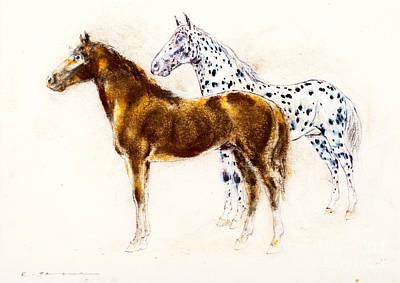 Brown And Appaloosa Horse Art Print by Kurt Tessmann