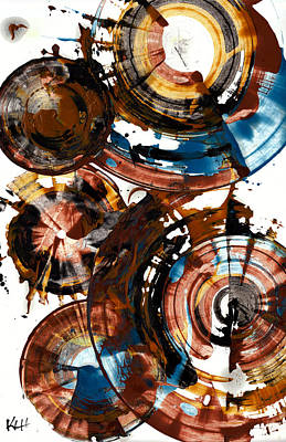 Art Print featuring the painting Brown And Blue Spherical Joy - 992.042212 by Kris Haas