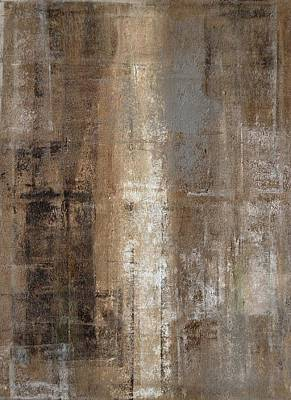 Abstract Royalty-Free and Rights-Managed Images - Slender - Grey and Brown Abstract Art Painting by CarolLynn Tice