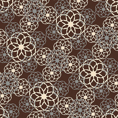 Mixed Media - Brown And Silver Floral Pattern by Christina Rollo