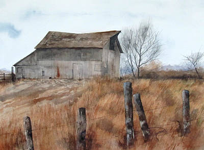 Brown Barn Art Print by Denny Dowdy