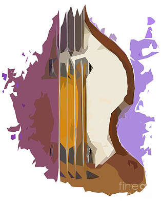 Musicians Mixed Media Royalty Free Images - Brown Bass Purple Background 2 Royalty-Free Image by Drawspots Illustrations