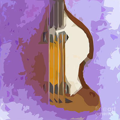 Musicians Mixed Media Royalty Free Images - Brown Bass Purple Background 5 Royalty-Free Image by Drawspots Illustrations