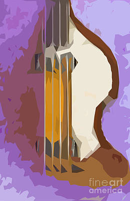 Musicians Mixed Media Royalty Free Images - Brown Bass Purple Background Royalty-Free Image by Drawspots Illustrations