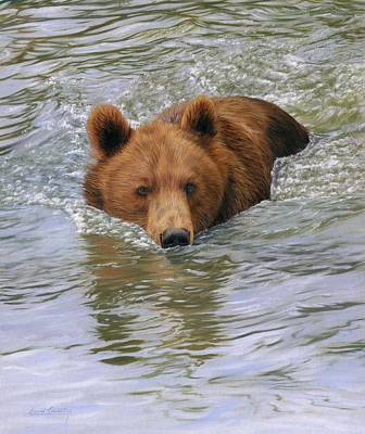 Brown Bear Painting - Brown Bear by David Stribbling