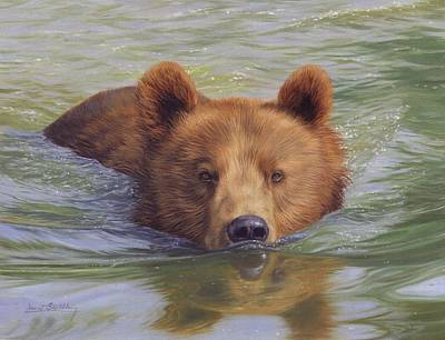 Salmon Fishing Painting - Brown Bear Painting by David Stribbling