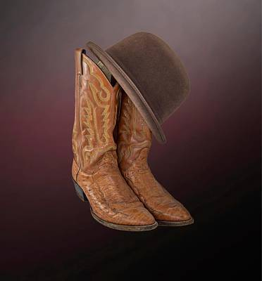 Equestrian Clothes Photograph - Brown Boots With A Brown Derby by Chandler McGrew