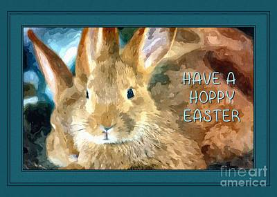 Digital Art - Brown Bunny Hoppy Easter by JH Designs