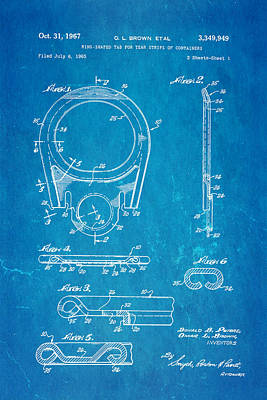 Brown Can Ring Pull Patent Art 1967 Blueprint Art Print by Ian Monk