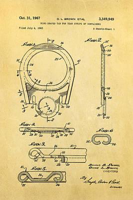 Brown Can Ring Pull Patent Art 1967 Art Print