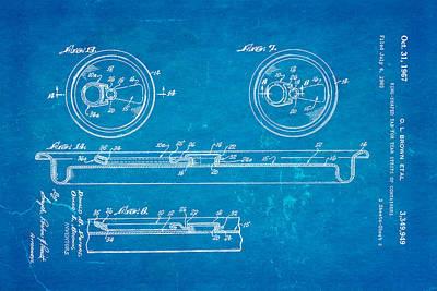 Brown Can Ring Pull Patent Art 2 1967 Blueprint Art Print