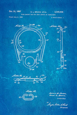Brown Can Ring Pull Patent Art  3 1967 Blueprint Art Print