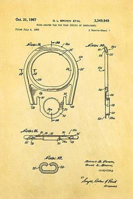 Brown Can Ring Pull Patent Art  3 1967 Art Print