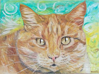 Art Print featuring the painting Brown Cat by PainterArtist FINs husband Maestro