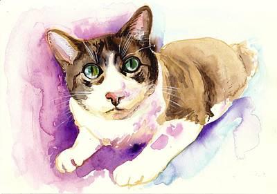 Brown Cat Watercolor Paing Art Print by Tiberiu Soos