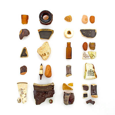 Beachcombing Photograph - Brown China And Amber Sea Glass by Jennifer Booher
