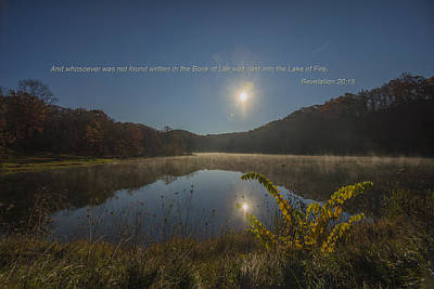 Photograph - Brown County State Park Nashville Indiana Biblical Verse Ogle Lake by David Haskett